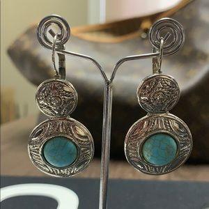 Elegant marble texture natural stone earrings